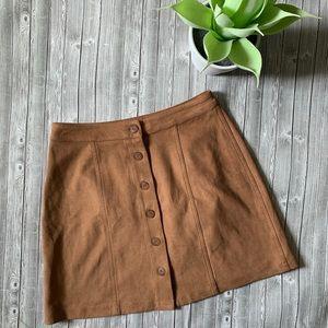 WAYF Brown Mini Button Skirt